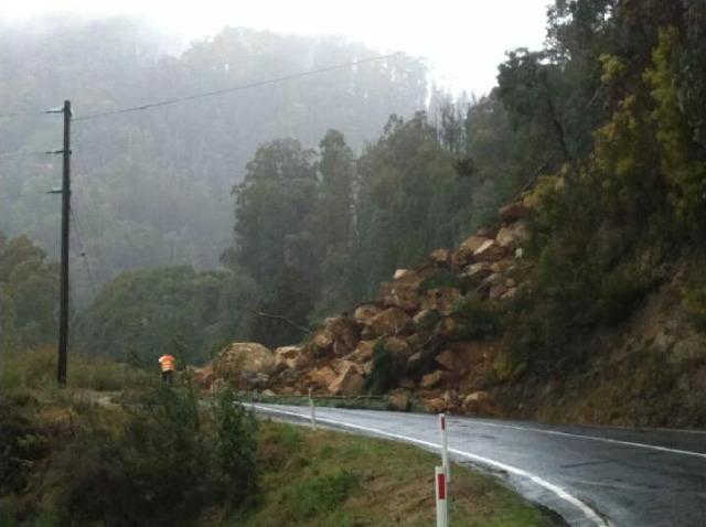 Rock fall blocking road